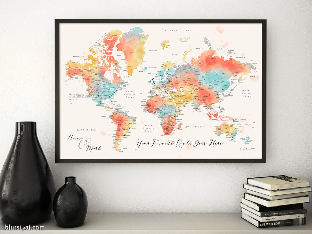 Custom quote colorful watercolor printable world map with cities custom quote colorful watercolor printable world map with cities capitals countries us gumiabroncs Choice Image