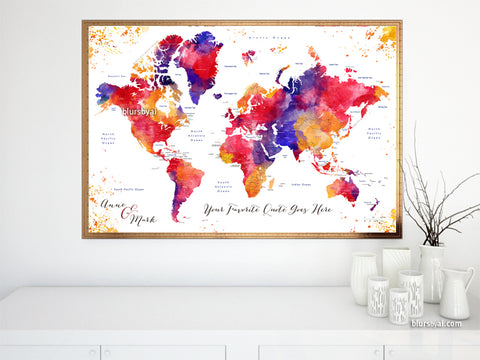 "Personalized map print: world map with countries and states in colorful watercolor. ""Noor"""