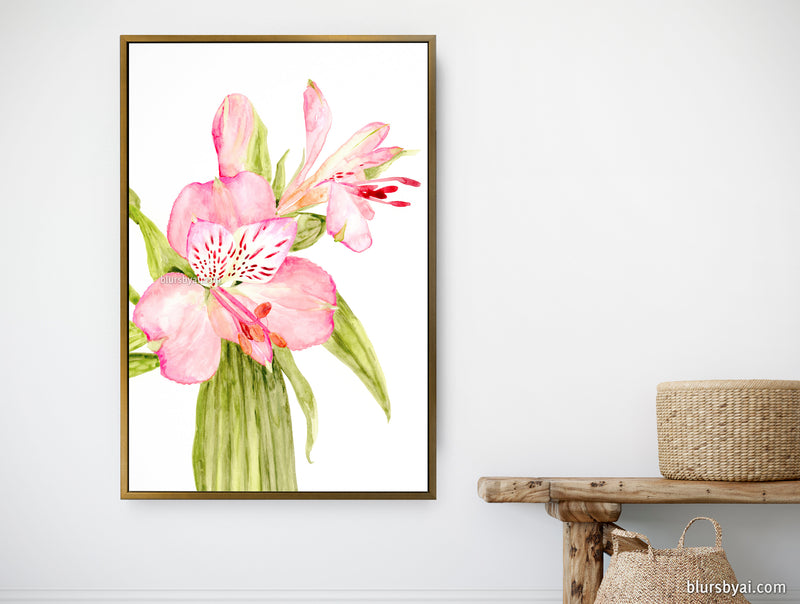 "Customizable canvas print - ""Pink watercolor alstroemeria"""