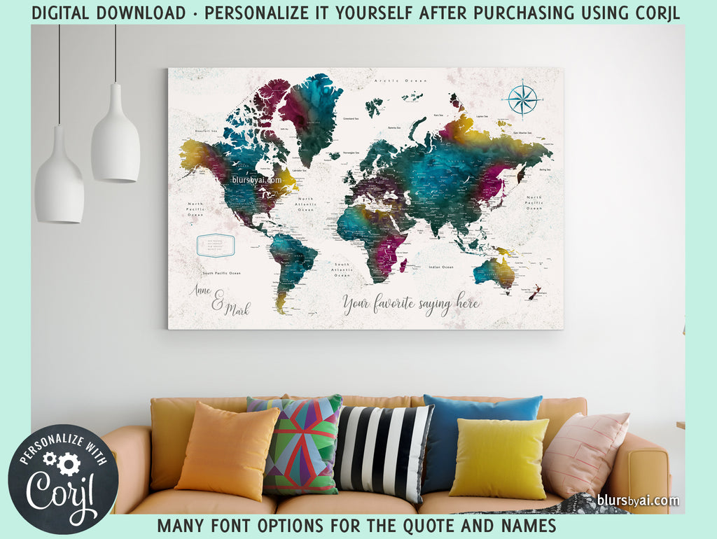 "Personalized PRINTABLE world map with cities, ""Charleena"", edit-it-yourself using CORJL - Instant download"