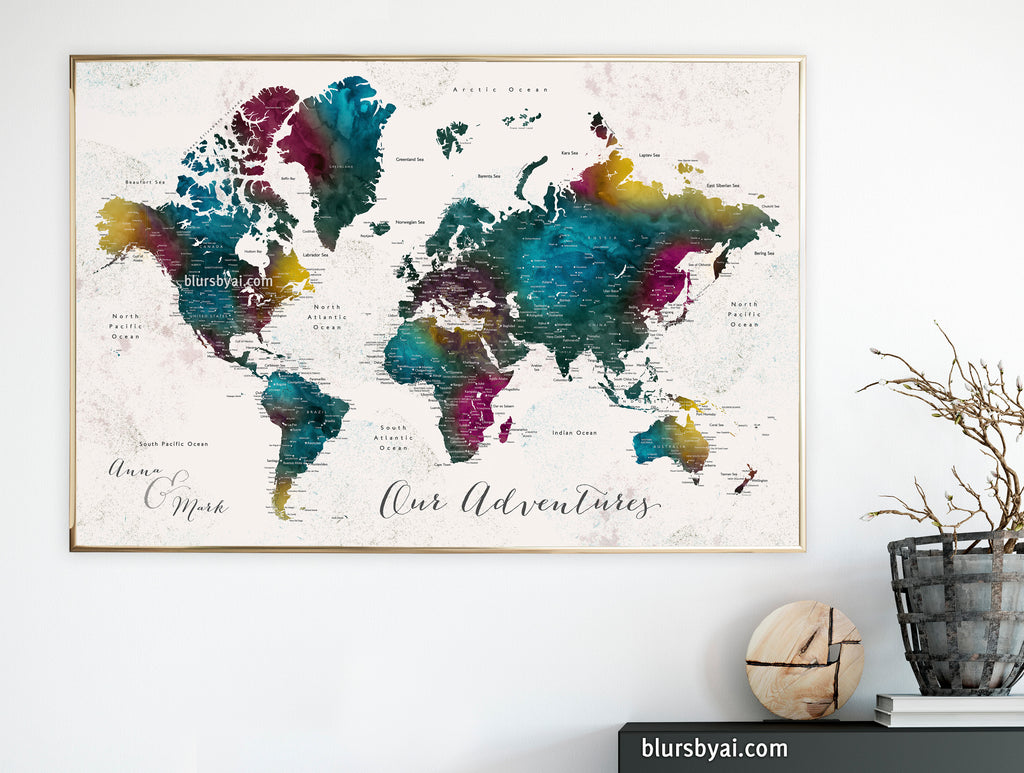 "Art print on paper: custom world map with cities in bold watercolor hues. ""Charleena"""