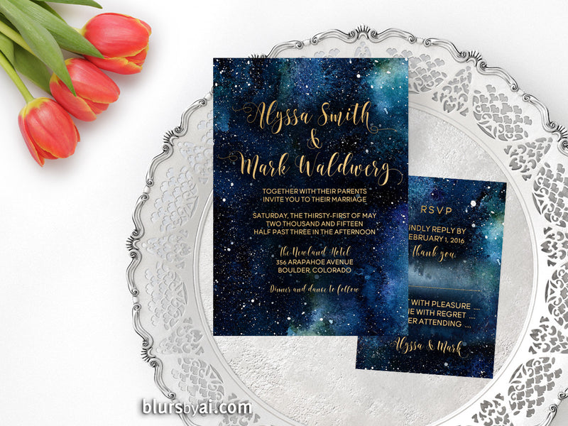 Custom printable wedding invitation and RSVP card, sky nebula invitation in gold calligraphy & dark blue