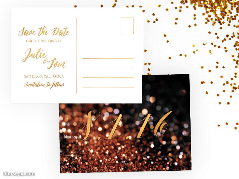 Custom printable save the date postcard in copper glitter and gold foil