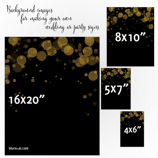 Black and gold bokeh background images for making your own wedding signs or party signs