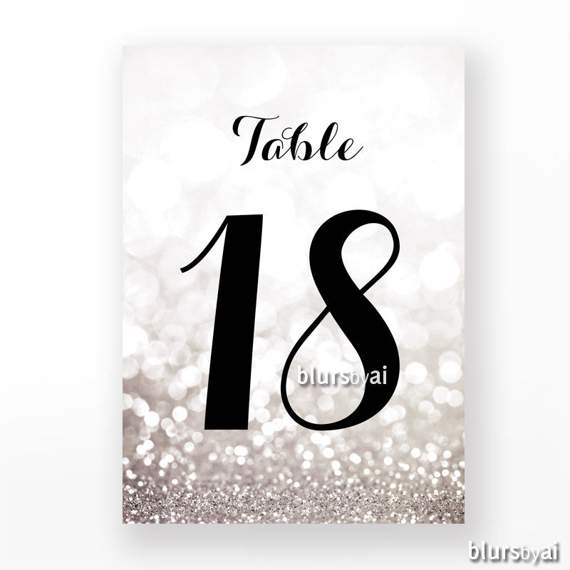 "4x6"" table numbers in silver glitter and black calligraphy font, printable table numbers"