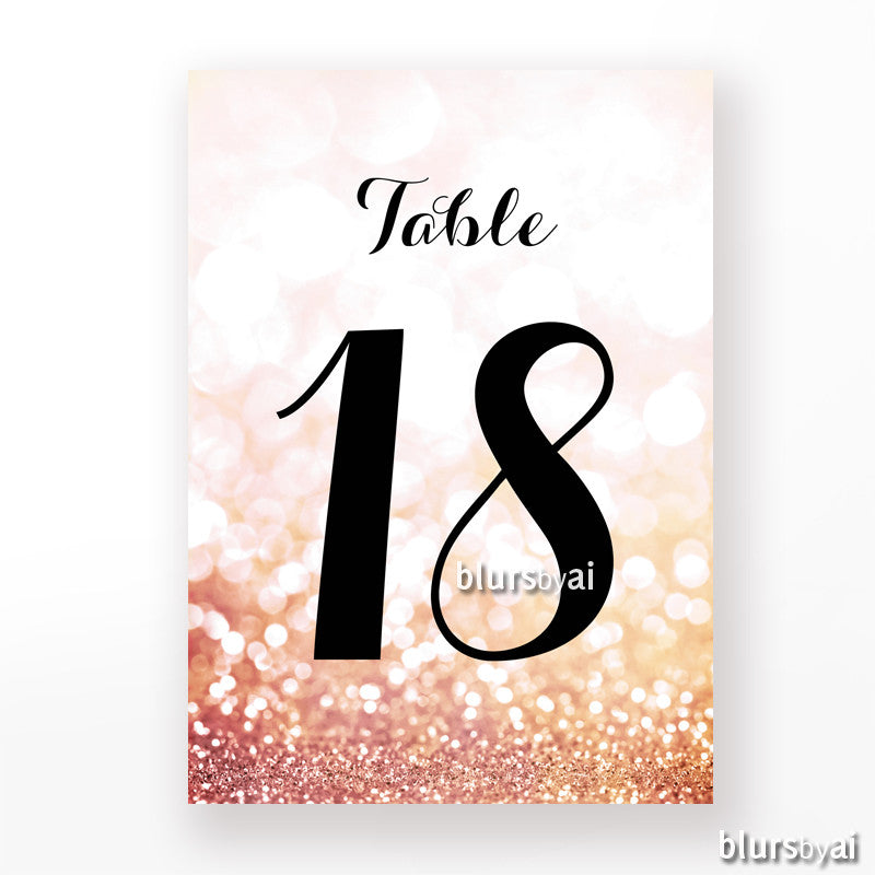 4x6 table numbers in rose gold glitter and black calligraphy text