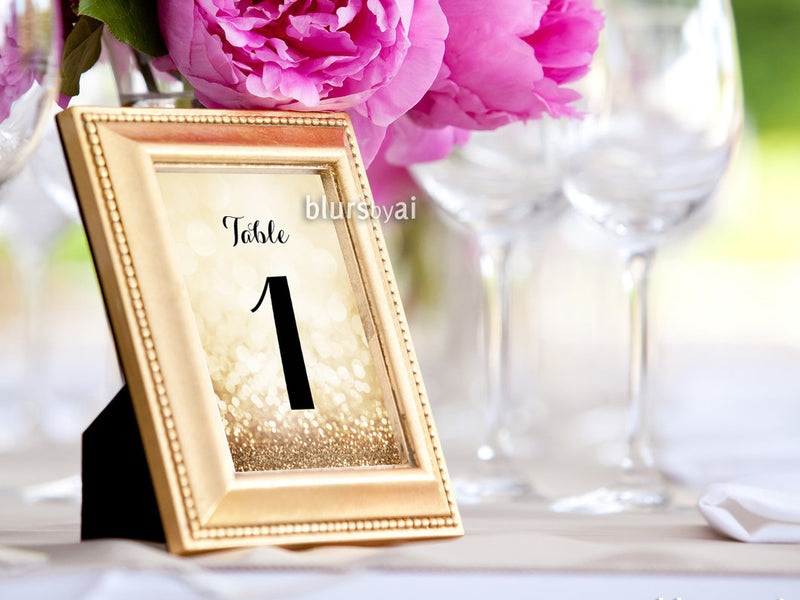 "5x7"" table numbers in gold glitter and black calligraphy font, printable table numbers"