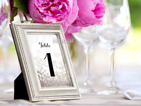 "5x7"" table numbers in silver glitter and black calligraphy text, printable table numbers"