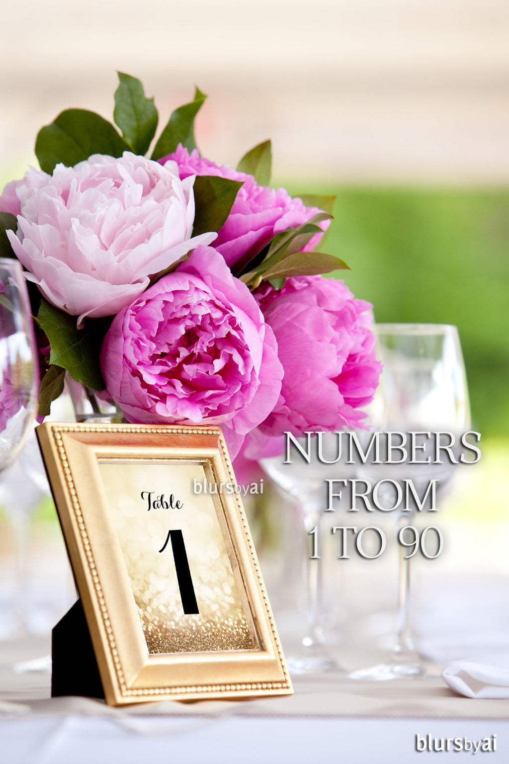 "1 to 90 printable 5x7"" table numbers in gold glitter and black calligraphy font"