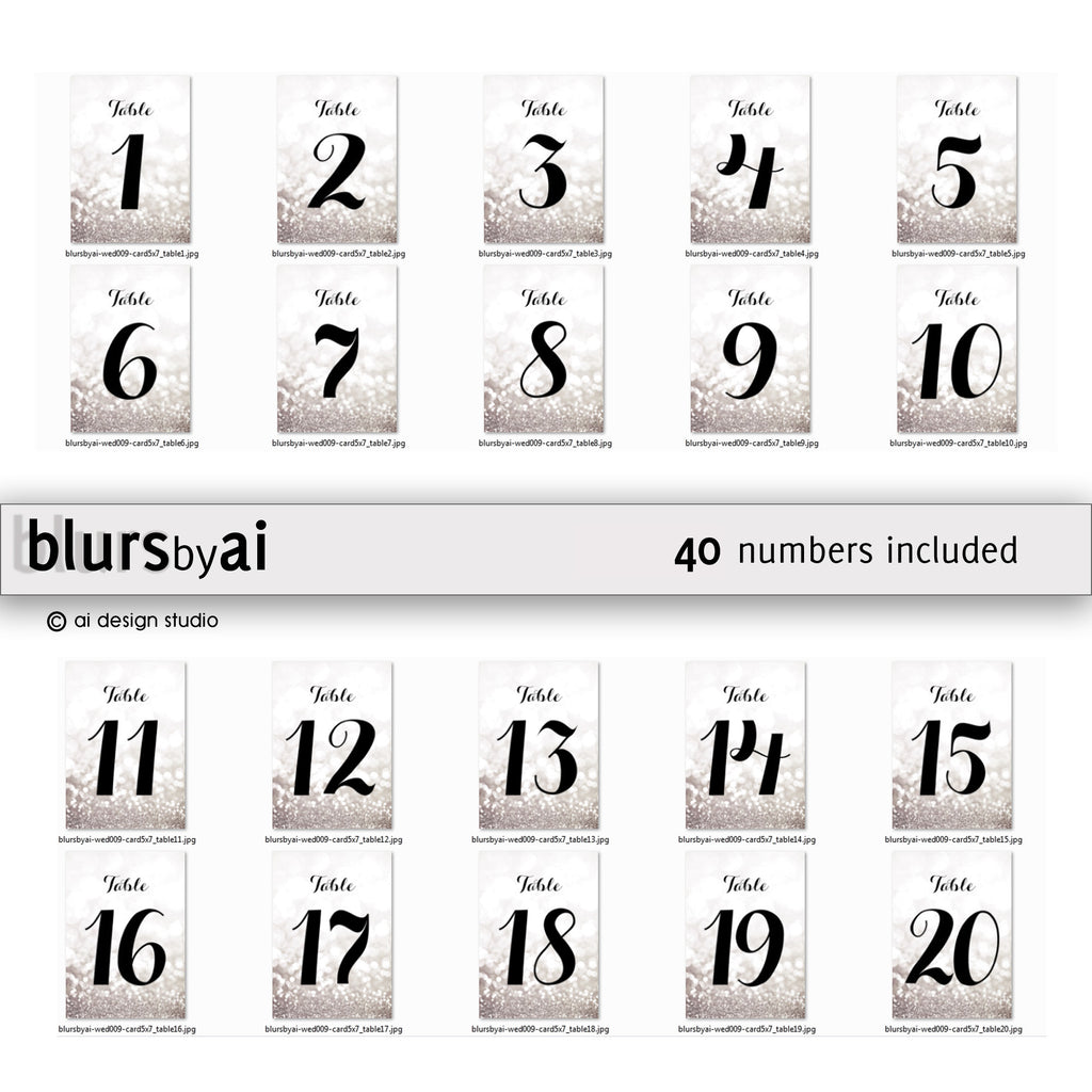 4x6 table numbers in silver glitter and black calligraphy font
