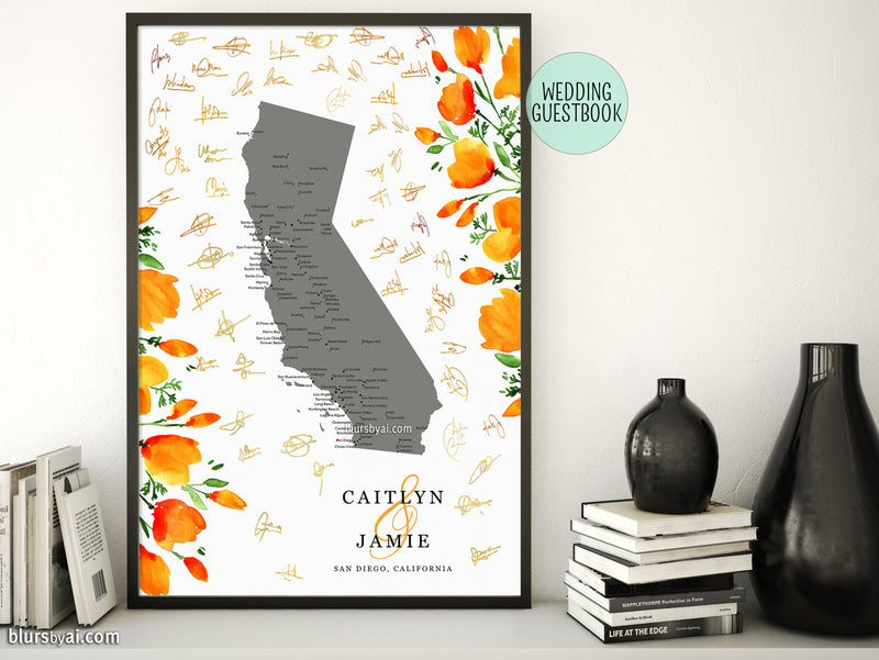 Unique wedding guestbook: map of California with cities and California poppies