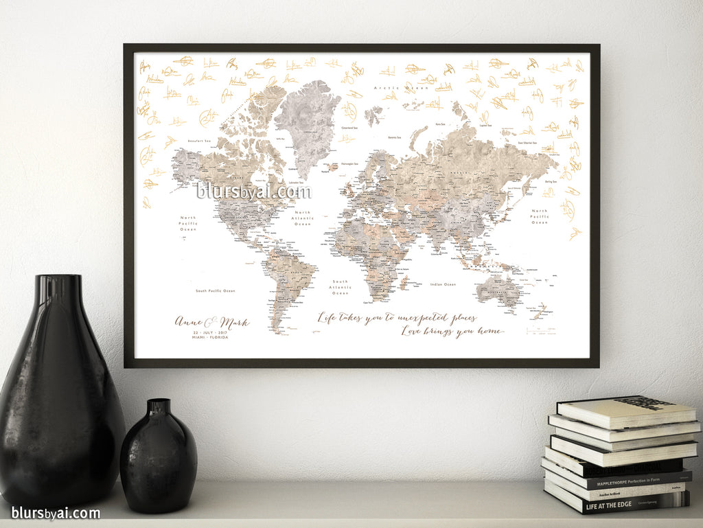 "Wedding guestbook map print: world map with cities in neutral watercolors. ""Abey"""