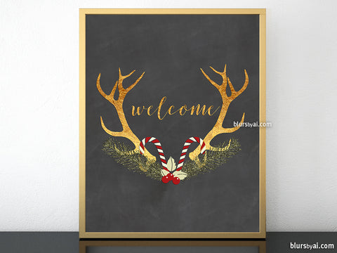 Welcome printable Christmas decor, in gold calligraphy with antlers
