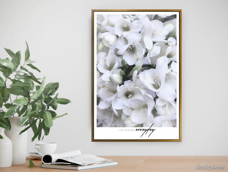 "Customizable canvas print - ""Scandinavian vintage white freesias, life blooms everyday"""
