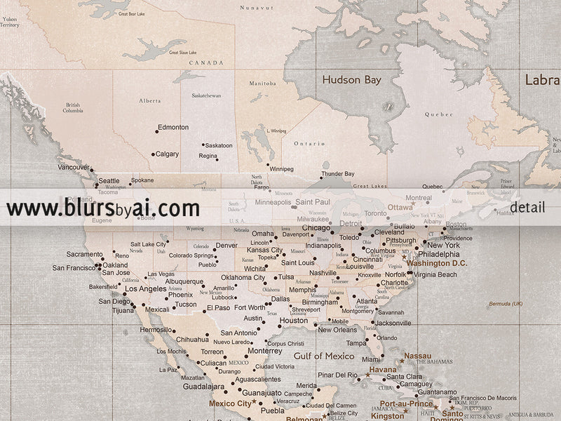 "Custom quote printable world map with cities and Antarctica in rustic style. ""Adelaide"""