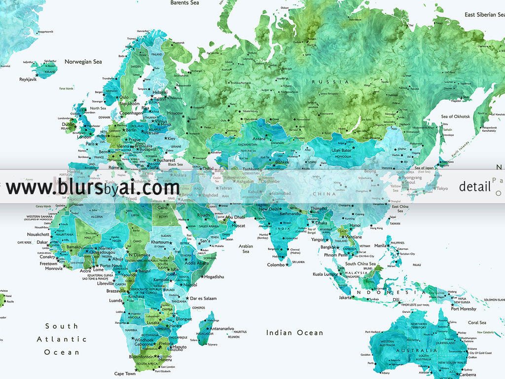 Custom quote blue and green watercolor printable world map with custom quote blue and green watercolor printable world map with cities capitals countries gumiabroncs Image collections