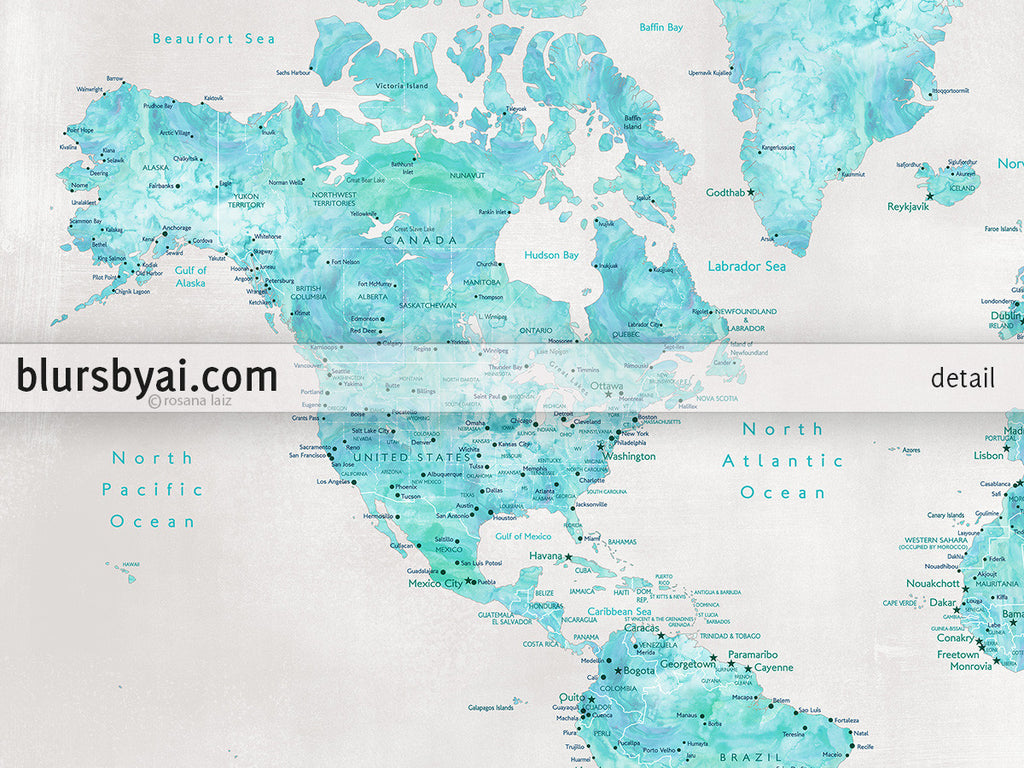 photograph about Printable Map of Austin referred to as Personalized estimate - Aquamarine watercolor printable international map with towns within rustic history. \