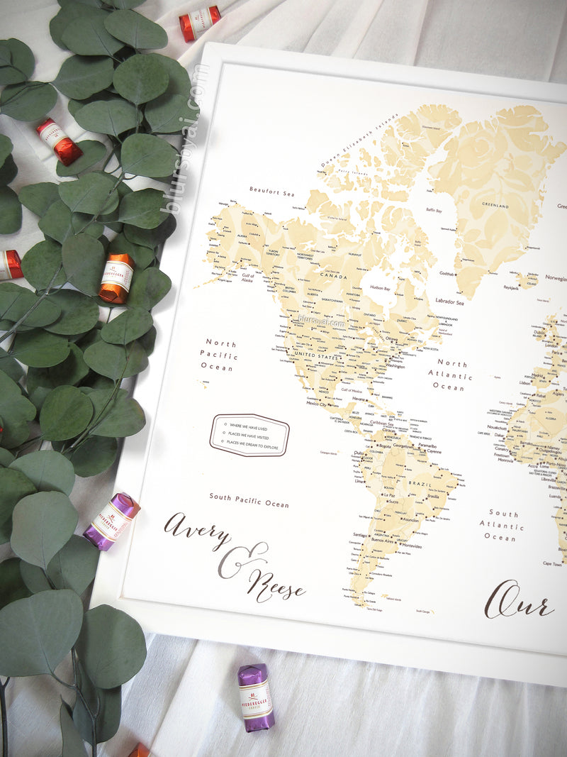 "Art print on paper: custom world map with cities in elegant floral pattern. ""Remy"""