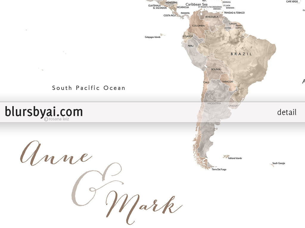 Personalized printable world map with countries and states labelled abey personalized printable world map with countries and states labelled in neutral watercolor gumiabroncs Images