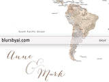 "Personalized printable world map with countries and states labelled in neutral watercolor. ""Abey"""