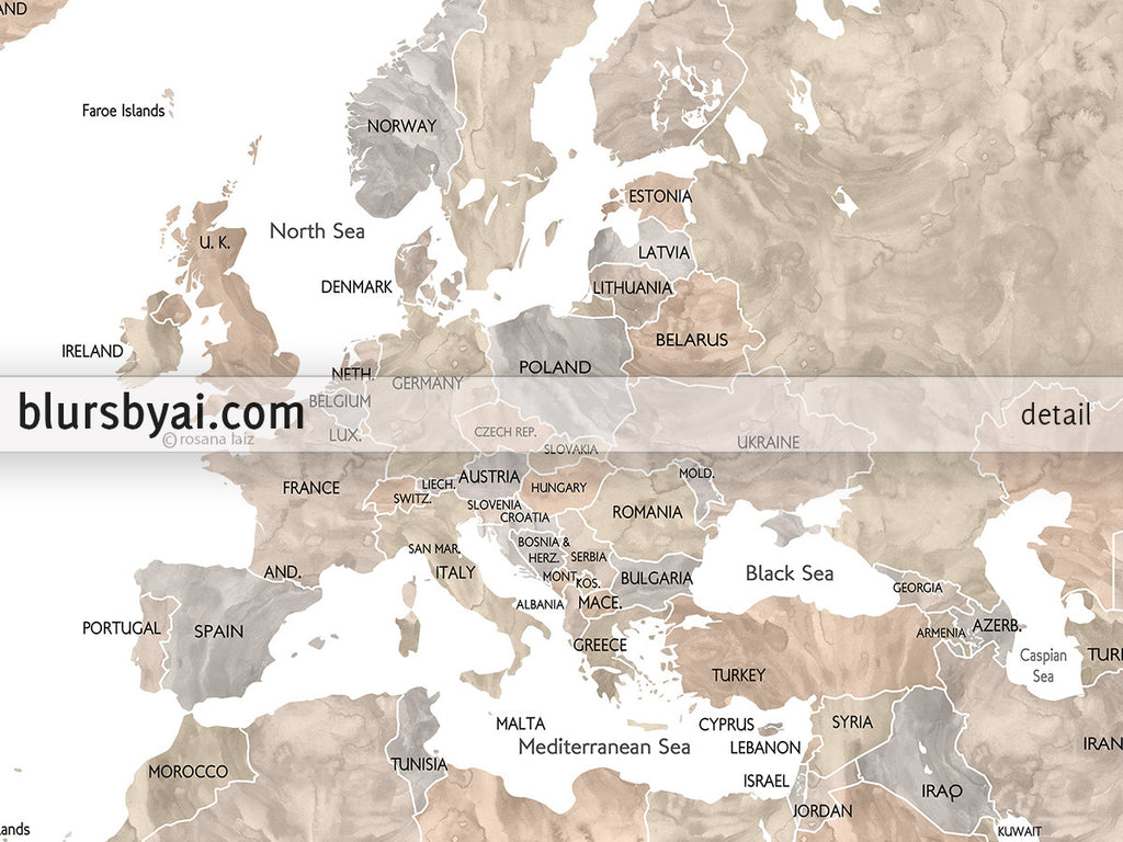Personalized printable world map with countries and states labelled personalized printable world map with countries and states labelled in neutral watercolor gumiabroncs Images