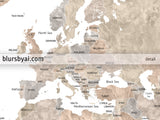 "Personalized world map with countries & states, canvas print or push pin map. ""Abey"""