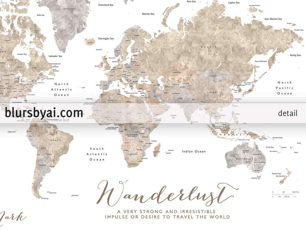 Personalized World Map With Countries States Canvas Print Or Push Pin