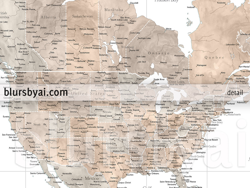 "Custom world map print - highly detailed map with cities in neutral watercolor. ""Abey"""