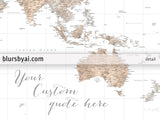 "Personalized, large & highly detailed watercolor world map canvas print or push pin map. ""Abey"""