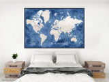 "Custom world map print - highly detailed map with cities in light brown and blue watercolor. ""Hudson"""