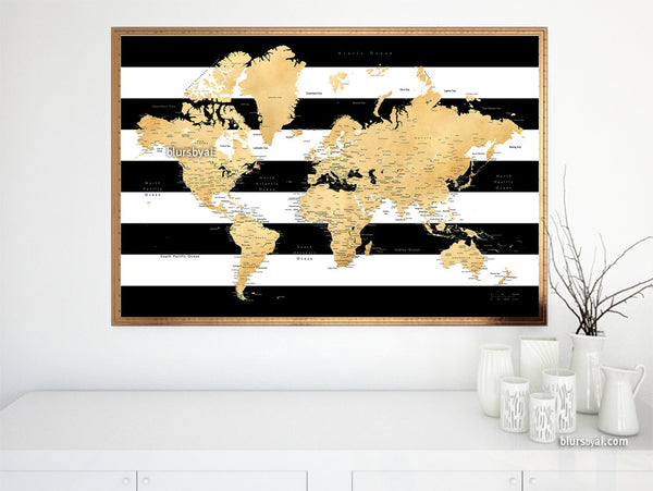 world map with cities in gold foil effect and black and white stripes