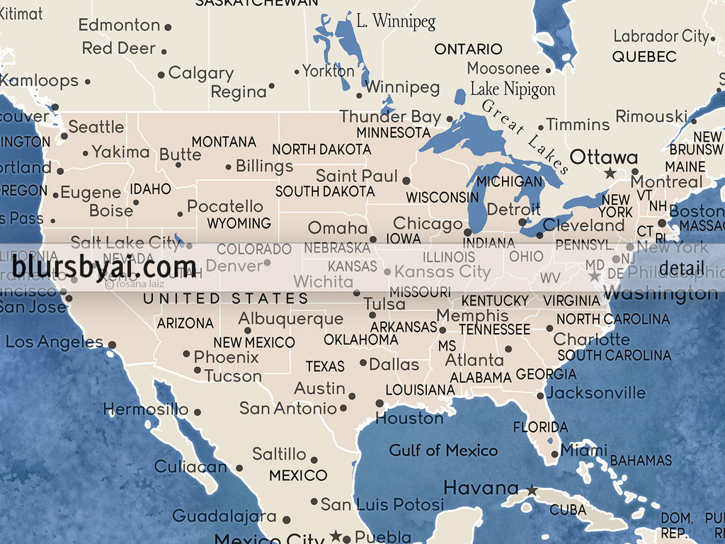 picture relating to Printable Map of Havana identified as Custom made blue and brown globe map with towns, canvas print or thrust pin map. \