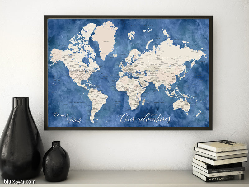 "Custom print: world map with cities in light brown and blue watercolor. ""Hudson"""