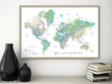 "Personalized print: watercolor world map with cities in muted green and brown. ""Oriole"""