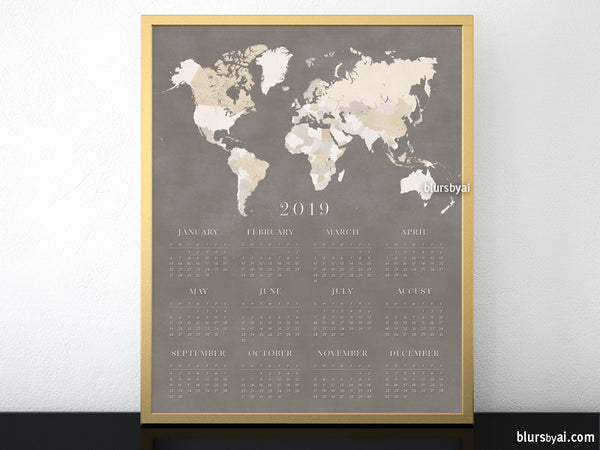 "8x10"" and 16x20"" printable 2019 calendar with brown world map"
