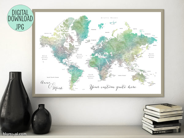 "Custom quote - muted green and brown watercolor printable world map with cities. ""Oriole"""