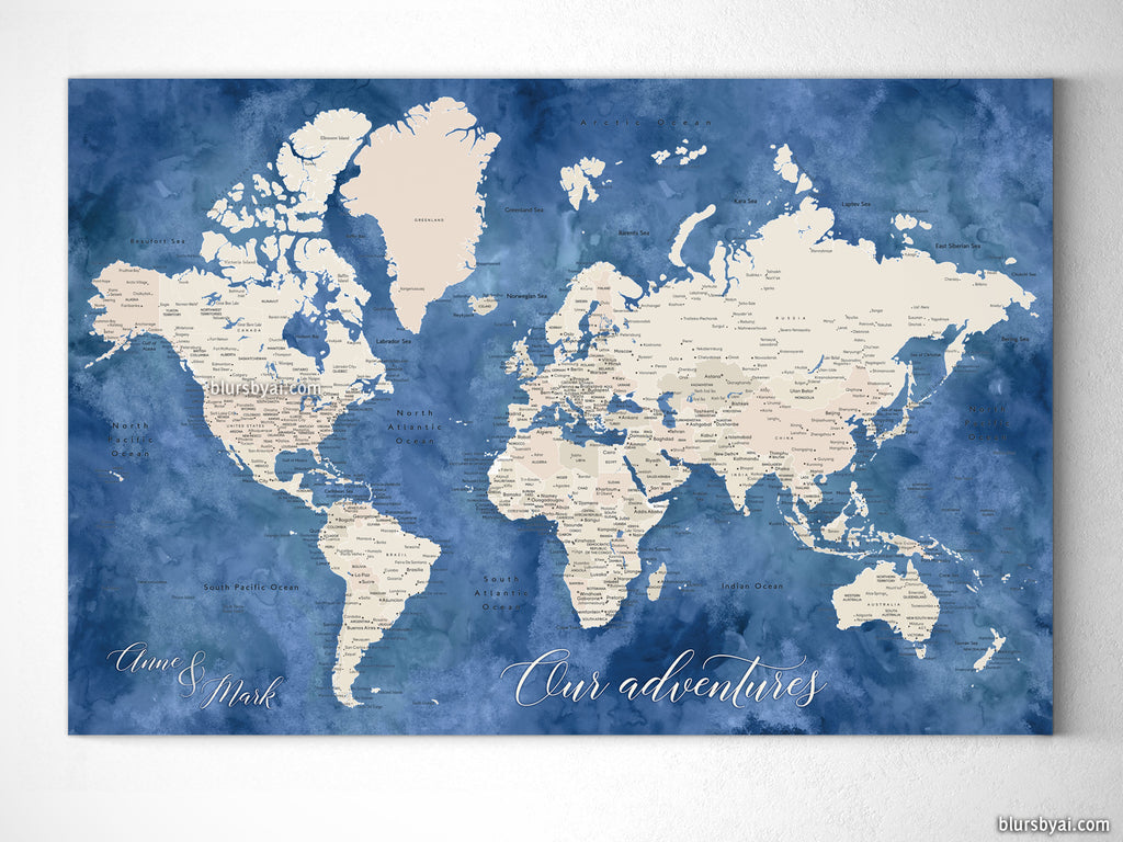 "Custom blue and brown world map with cities, canvas print or push pin map. ""Hudson"""