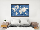 "Personalized print: world map with cities in light brown and blue watercolor. ""Hudson"""