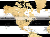 Printable world map with cities in gold foil effect and black and white striped background, large