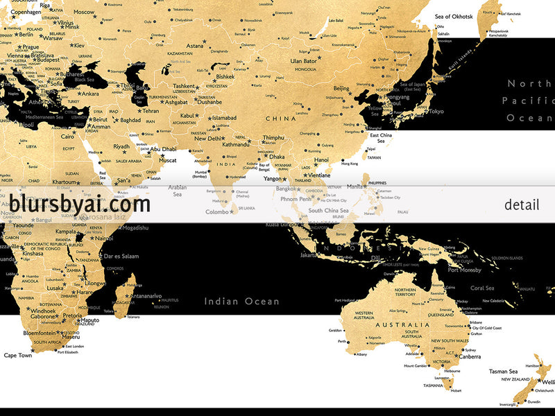Printable world map with cities in gold foil effect and black and white striped background, large - For personal use only