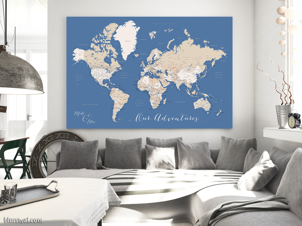 "Custom quote printable world map with cities, capitals, countries, US States... labeled. ""Gabriel"""