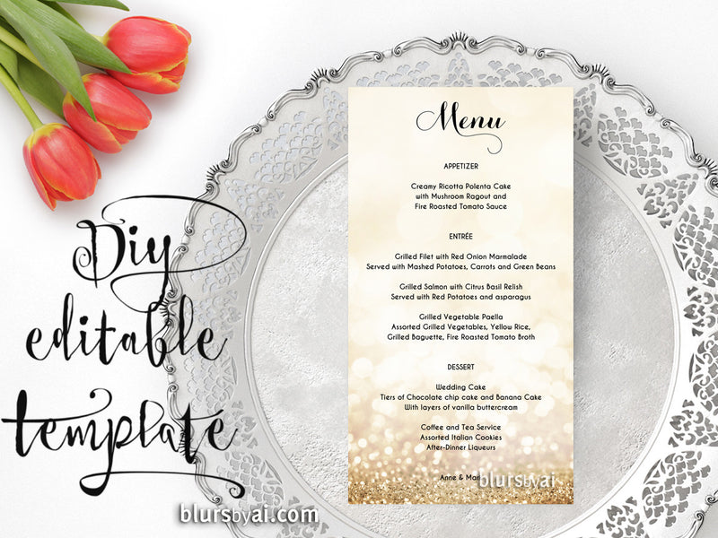 Gold glitter wedding menu editable template, tea length