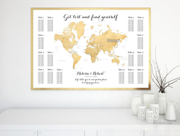 graphic regarding Printable Wedding Seating Chart known as Tailor made printable marriage ceremony seating chart supplying the planet map within just gold foil