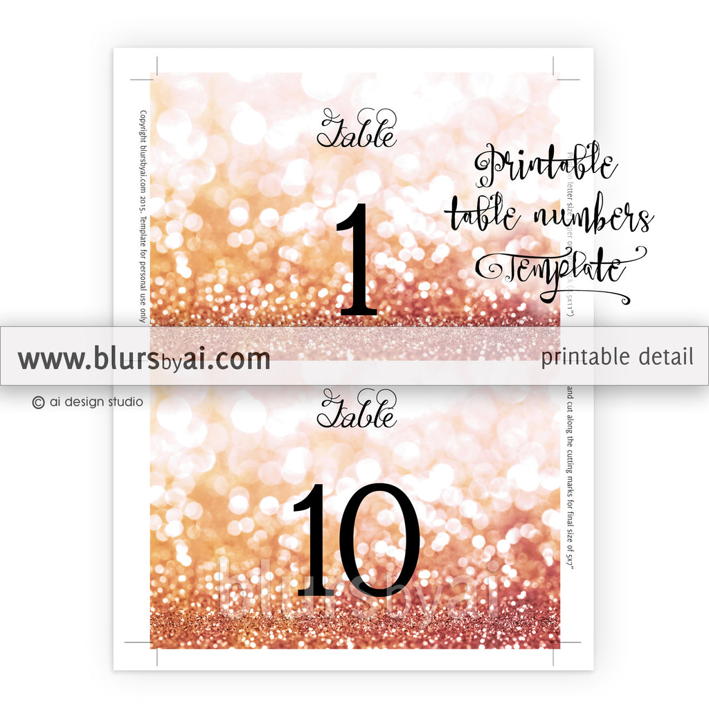 "7x5"" table numbers editable template in rose gold glitter, printable table numbers"