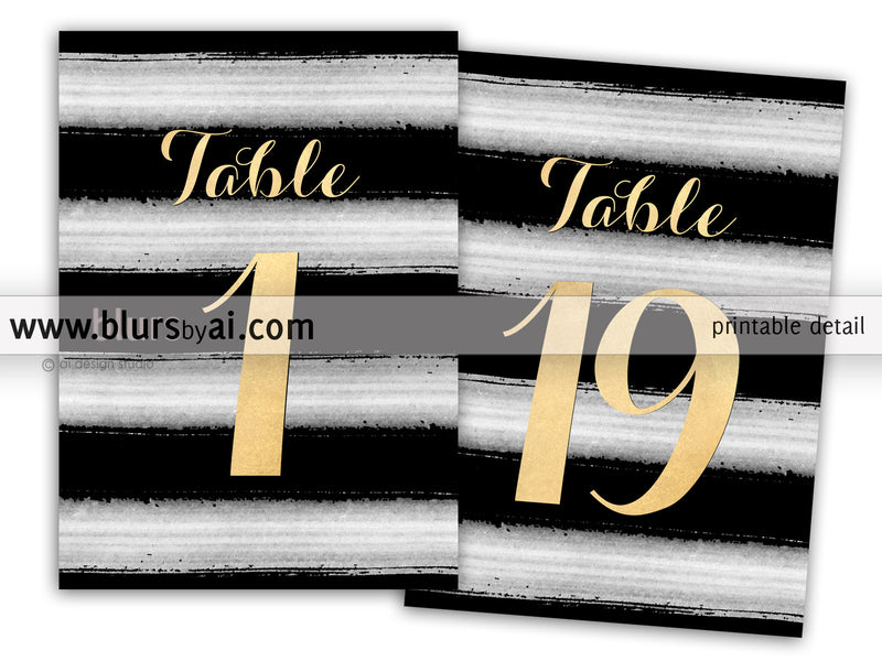 "5x7"" table numbers in gold foil and stripped background, printable table numbers"