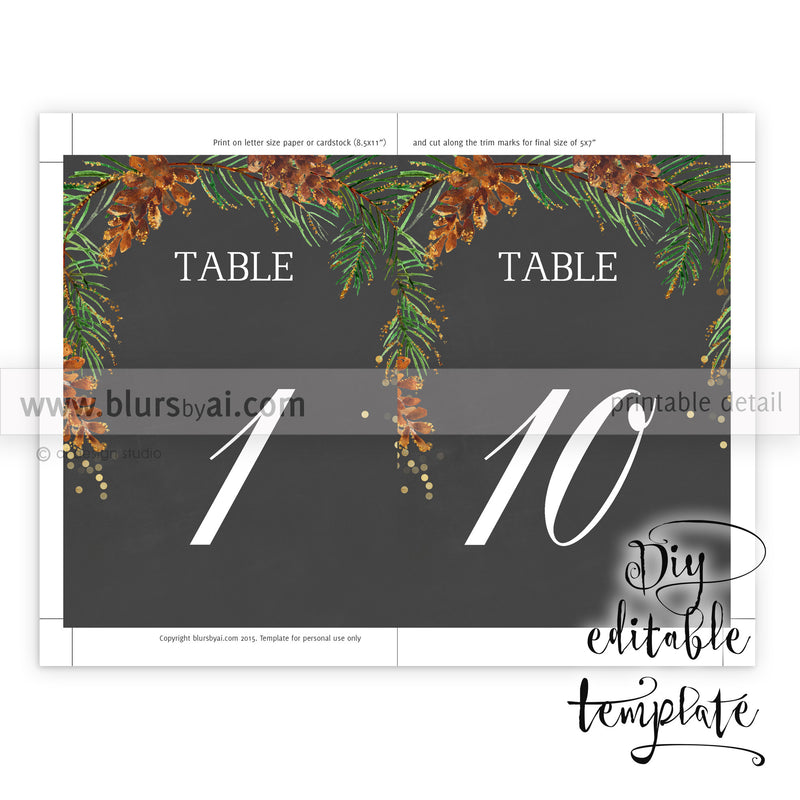 "5x7"" table numbers editable template in chalkboard style featuring pinecones and pine branches, printable table numbers"