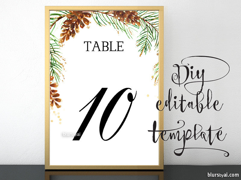 "5x7"" table numbers editable template featuring pinecones and pine branches, printable table numbers"