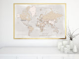 You are my greatest adventure, large printable world map with cities in rustic style, 60x40""