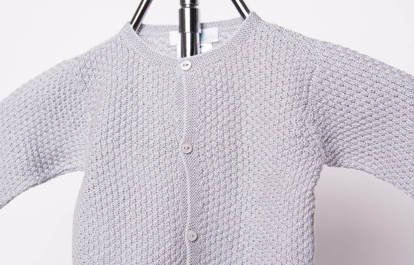 Grey Contrast Stitch Cardigan
