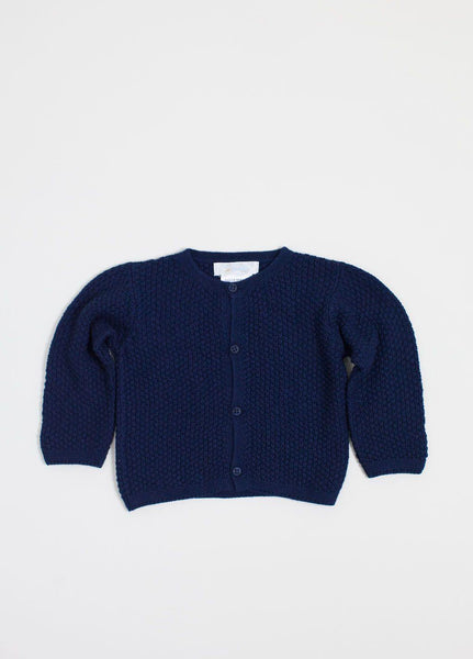 Navy Contrast Stitch Cardigan
